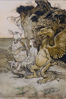 "This is an illustration by Arthur Rackham from the original edition of ""Alice in Wonderland."" It depicts Alice, the Mock Turtle and the Gryphon."