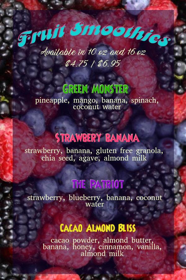Fruit Smoothie Menu - Made with PosterMy