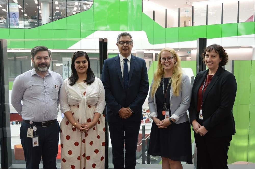 Pictured (L-R): Dr Matthew Skinner, Alina Naveed, Dr Aresh Anwar, Sofie Lindberg and Sue Kiely.
