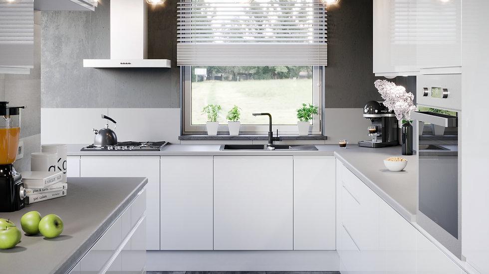 Grifflose Lackierte Küchenzeile 300 x 270cm + 160cm