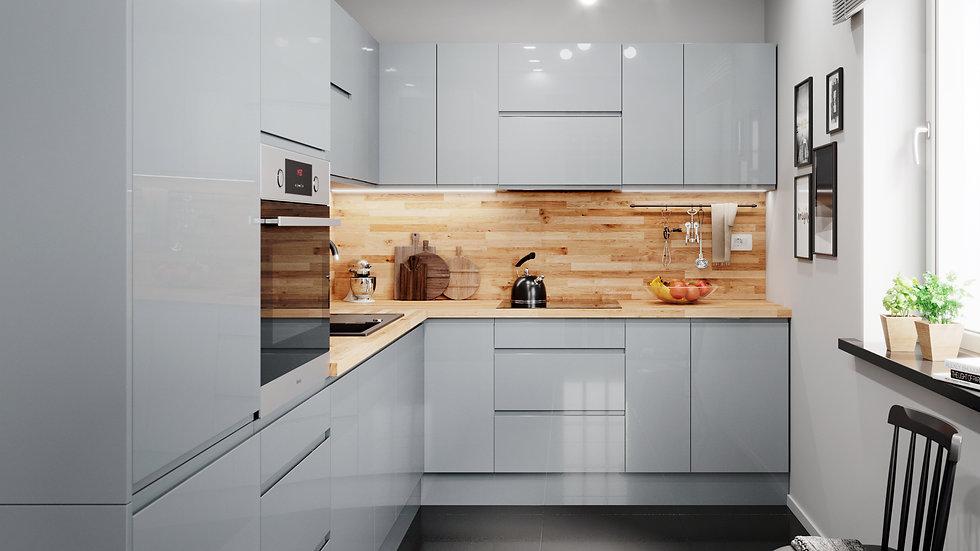 Grifflose Lackierte Küchenzeile L-Form 330x230 cm