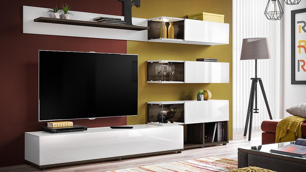 Wohnwand , Anbauwand SIL, Weiß ,240x150x40 cm , Inkl. LED Beleuchtung