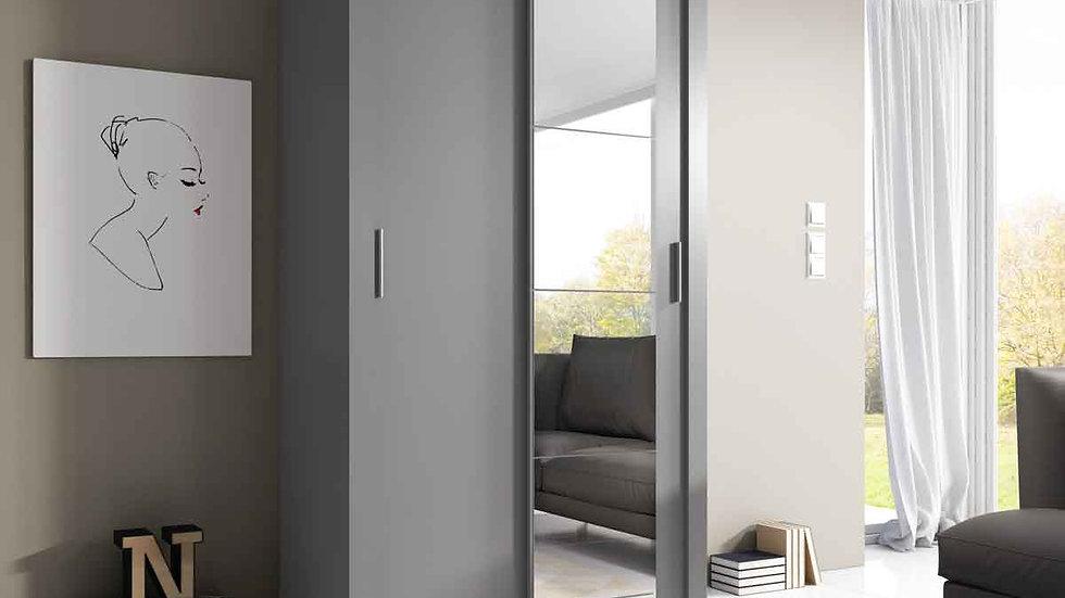 Kleiderschrank, Schwebetürenschrank AR06, mit Spiegel, 120 cm