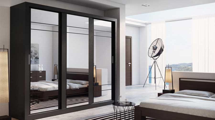 Kleiderschrank, Schwebetürenschrank AR02 mit Spiegel, 250 cm