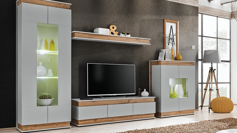 Wohnwand BE-1A mit extra Sideboard, mit LED Beleuchtung, 330x190x40 cm
