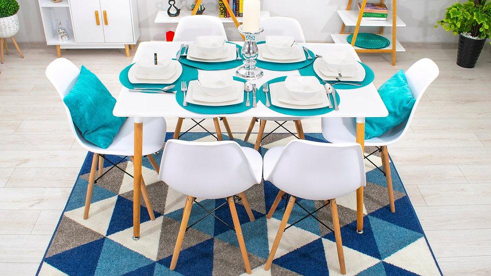 Esstisch mit 4 Stühlen 6 Stühle ,Farbe Weiß mit Buche Beine und Schwarzer Rahmen