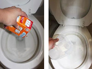 déboucheur WC produit chimique vinaigre et bicarbonate soude pour déboucher une toilette