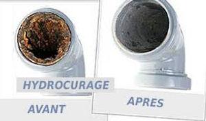 Hydrocurage canalisation, démonstration avant et après