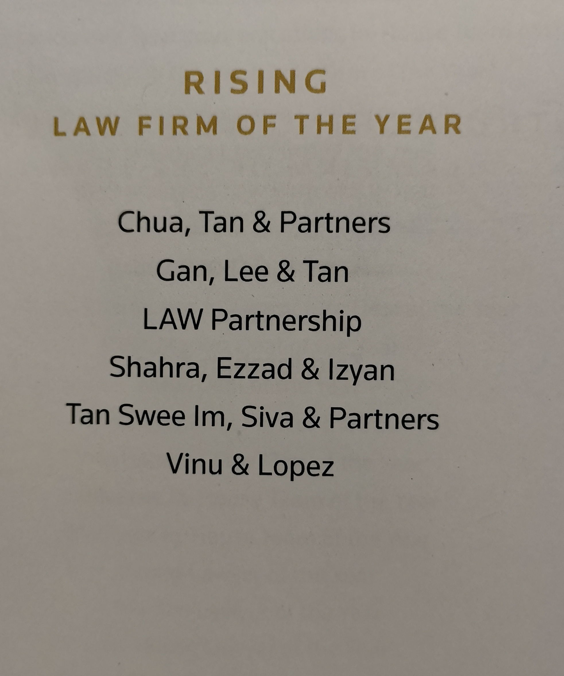 Nominees for Rising Law Firm of the Year