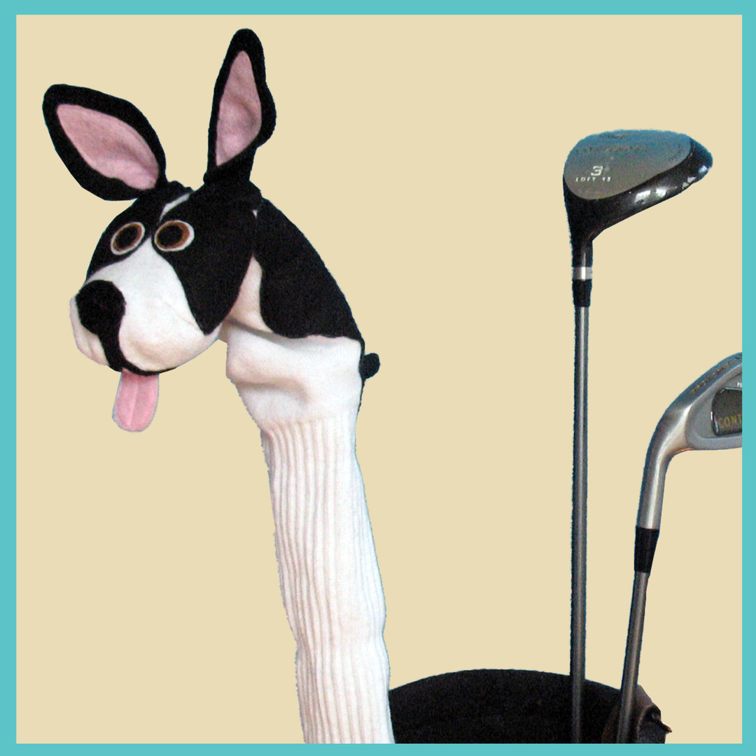 "Custom made, ""sock puppet"" style, Boston Terrier, portrait golf club cover."