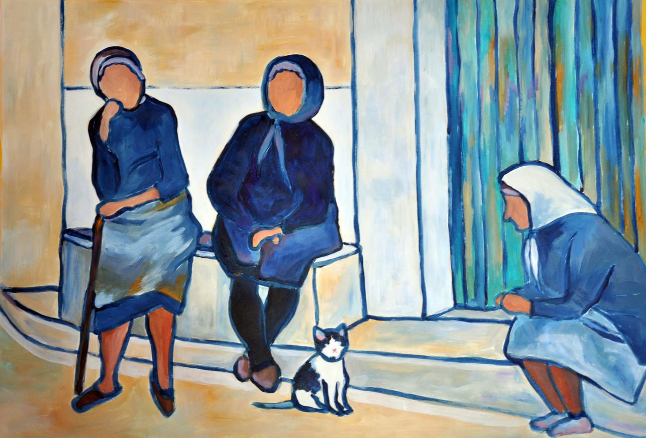 3 Frauen mit Katze