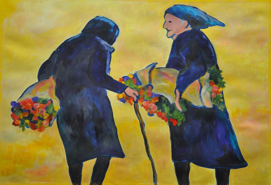 2 Frauen mit Blumen