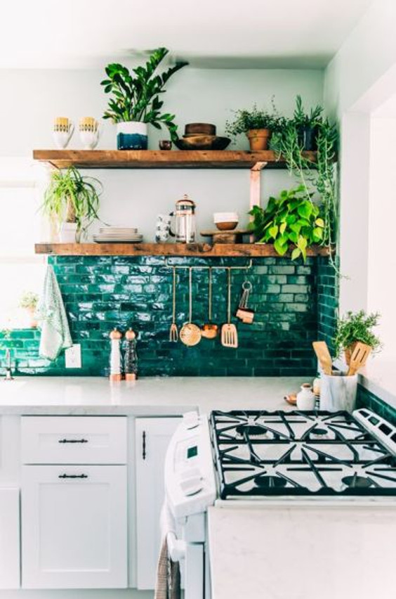 Interiors kitchen backsplash tile open shelves green