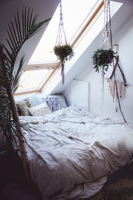 Interiors white bed minimal boho