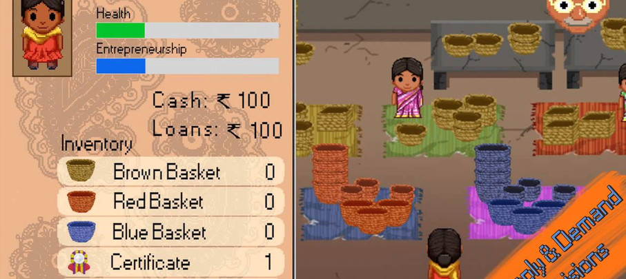 This team project was creating a concept for an 'old final fantasy-esque game' that teaches marketing and business education to disadvantaged women in India. The idea is by educating these women, we can empower them with technology using the internet as a mercantile tool. The goal of the application was to certify these women to be able to run their own businesses selling the things they make on a day to day basis.  This concept video was built using After Effects, utilizing spritesheets previously built by another artist. This project was a challenge as we had to build the entire map using sprites, with no 'level design', so the world map was generated out of our own design. Due to the insane number of sprites, technically I had to create proxies for the landscape and static objects so that the memory in After Effects could render the compositions. For the animating, I swapped between positions on the spritesheet every update (10 fps), to playback the spritesheet like a flipbook to create the animation. Then while the main character navigates the environment, she is standing still and the entire world is being repositioned around her to give the illusion of her traveling.