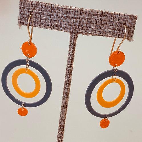 Orange Grey Drop Earrings