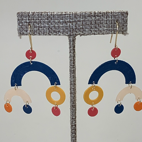 Mobile Earrings in Navy, Pink, Yellow