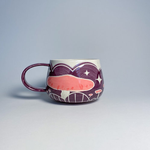 Purple and pink mushroom mug