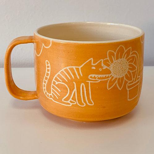 Sunflower Kitty Mug