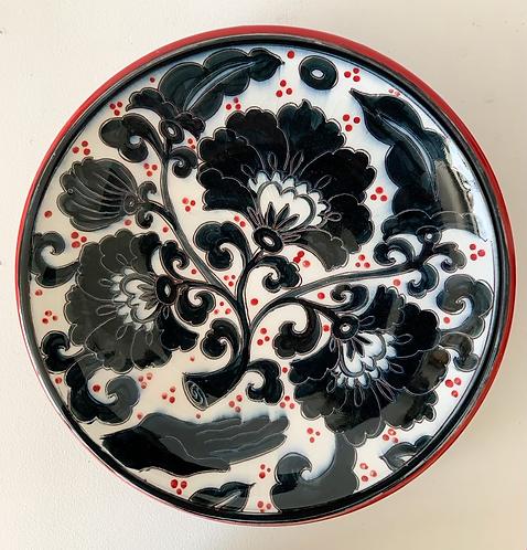 Platter with Black Peony