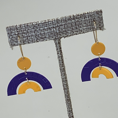 Half Circle earrings Purple/Yellow