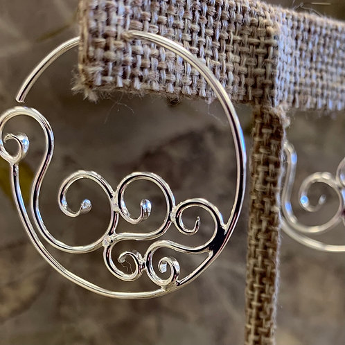 Round Gravity Hoops, sterling