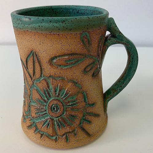 Henna Mug with Turquoise Rim