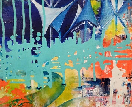 Cuyahoga Falls colorful acrylic painting