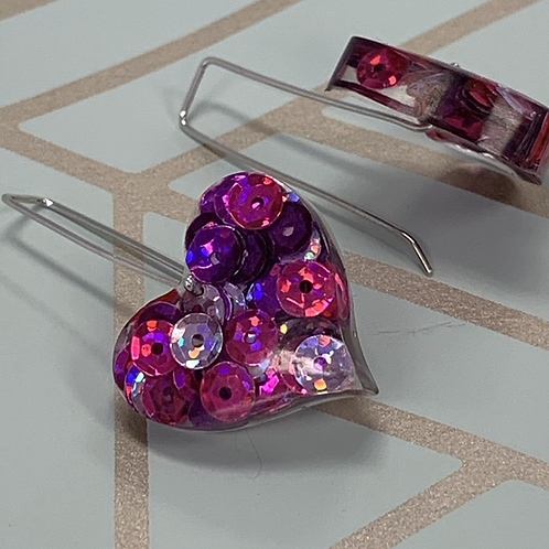Sugar Plum Sequin Heart earrings