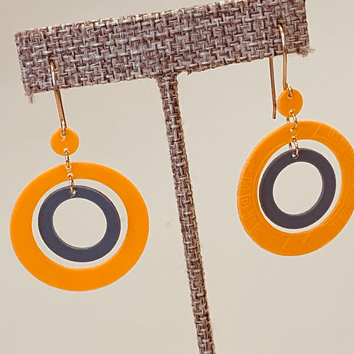Orange and Grey Circle earrings