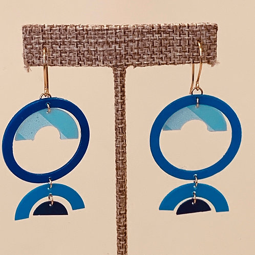 Blue Half Circle Drop earrings