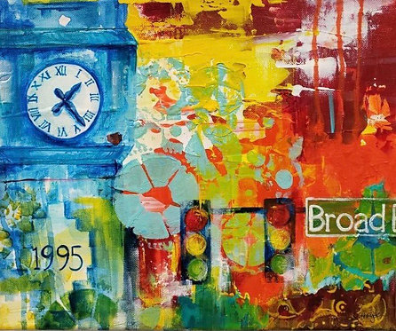 """""""Broad"""" colorful acrylic painting"""