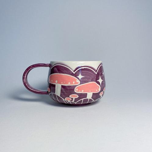 Purple and pink mushroom mug