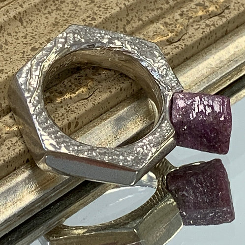 Hex Nut Ring with Ruby