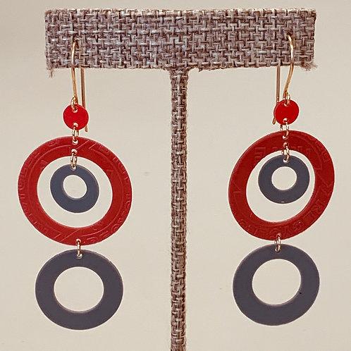 Red Grey Circles Drop earrings