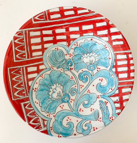 Red Bowl with Turquoise Peonies