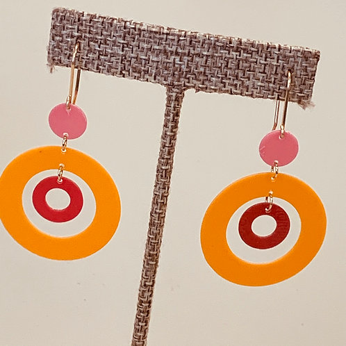 Orange and Pink Drop Earrings