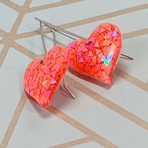 Black Light Pink Heart earrings