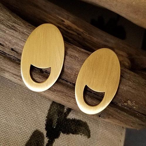 Oval Crescent brass earrings