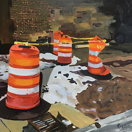 """Night Shift"" Orange Barrel Painting"