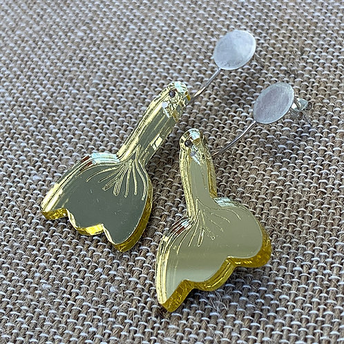 Yellow Flower earrings with Sterling