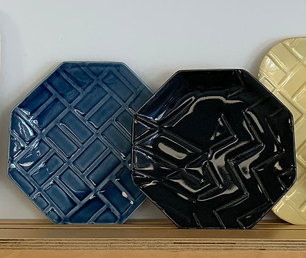 """8"""" Hexagon in Blue or Black - Line and Dine Collection"""