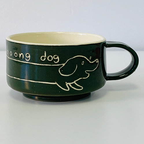 Wiener Dog Mug in Forest Green