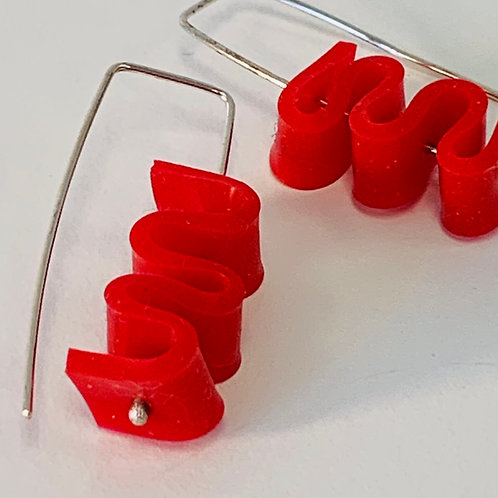 Red Rubber Curly earrings