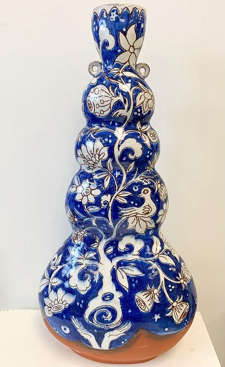 Lg Blue and White Pilgrim Vase