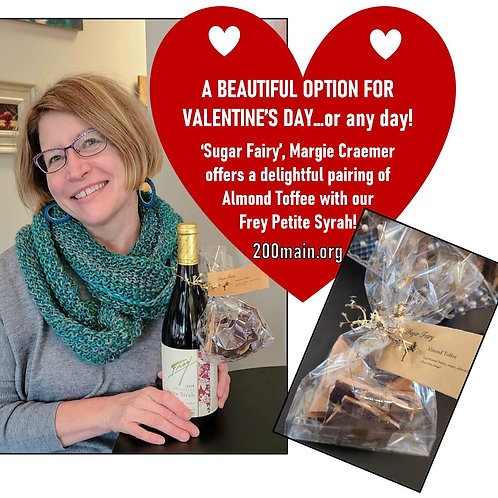 'Sugar Fairy' toffee and bottle of Frey Petite Syrah