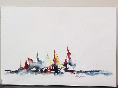 'Racing Sailboats' by Terry Meyer  13x19""