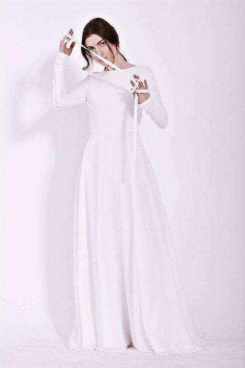 Minimalistické šaty s dlouhým rukávem v barvě slonové kosti