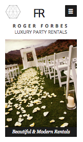 Events website templates – Luxury Party Rentals