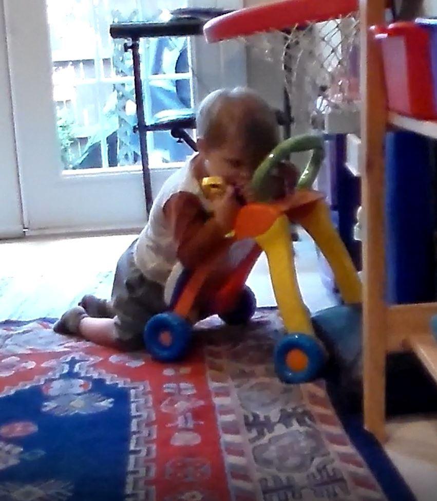 Matias lies kneeling on his push toy idle.